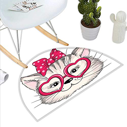(Kitty Semicircle Doormat Hipster Sweet Cat Wearing Heart Shaped Pink Glasses and Dotted Hair Bow Halfmoon doormats H 35.4