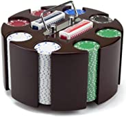 200-count Suited Poker Chip Set in Wooden Carousel Case, 11.5gm - Casino Party Accessories for Blackjack, Texa