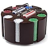 Wooden Carousel 200 Chip Poker Set - Includes Bonus Poker Buttons!