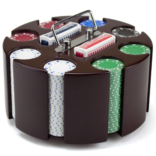 Wooden Carousel 200 Chip Poker Set - Includes Bonus Poker Buttons! ()