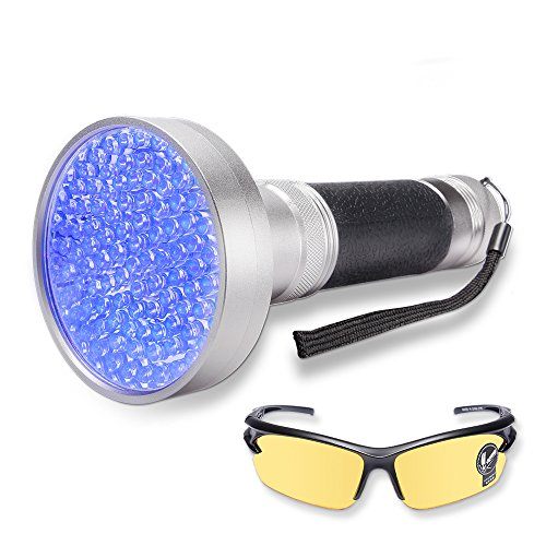 WOLFWILL 100 LED Ultraviolet Black Light Flashlight with UV Safety Glasses Detector for Pet Urine Stain,Scorpion,Counterfeit Money,Car Freon Leaks