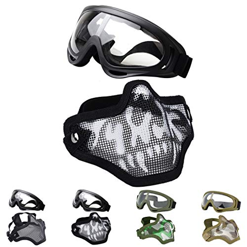 Outgeek Airsoft Half Face Mask Steel Mesh and Goggles Set for Halloween and Xmas(Skull -