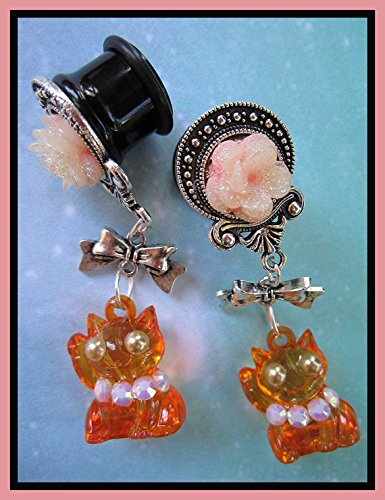 Chinese Feng Shui Maneki Neko dangle stretched EAR PLUGS gauges 2, 0g, 00g, 7/16