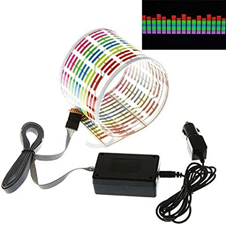 Light Zreal New Multicolor Car Music Rhythm Sticker LED Bright Light Sound Activated Equaliser Glow