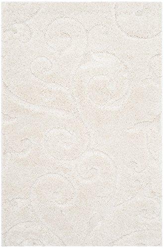 Safavieh Florida Shag Collection SG455-1111 Scrolling Vine Cream Graceful Swirl Area Rug (2'3