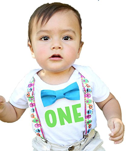 Noah's Boytique Little Monster First Birthday Outfits Boy Lime Green One Blue Bow Tie Cake Smash Set 12-18 Months