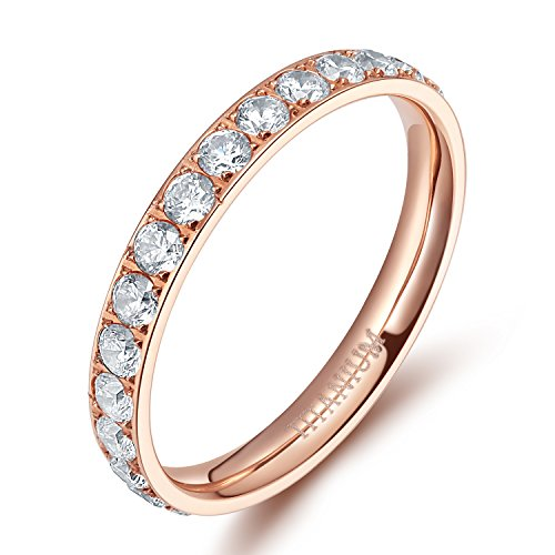TIGRADE Womens Titanium Eternity Rings Cubic Zirconia Wedding Engagement Band-ROSE GOLD, SIZE 7