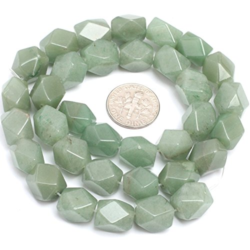 Faceted Green - Green Aventurine Jade Beads for Jewelry Making Gemstone Semi Precious 9x11mm Faceted 15