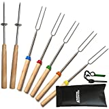 Premium Marshmallow Roasting Set Of 7 Colorful 32-Inch Telescopic Sticks By ...