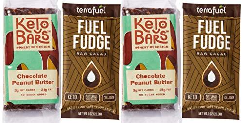 Keto Fat Bombs Dessert Sampler - Fuel Fudge - Keto Cacao Bark Snack When Frozen + Keto Bars (Cacao Fuel Fudge + Choc Peanut Butter Keto Bars, 4 Count Sampler)