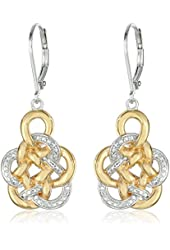 18k Yellow Gold-Plated Sterling Silver Two-Tone Flower Knot Drop Earrings