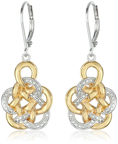 18k Yellow Gold Plated Sterling Silver Two Tone Flower Knot Drop Earrings
