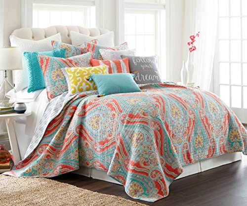 Levtex home Greenwich Multi Quilt, King, Coral,Teal,Blue
