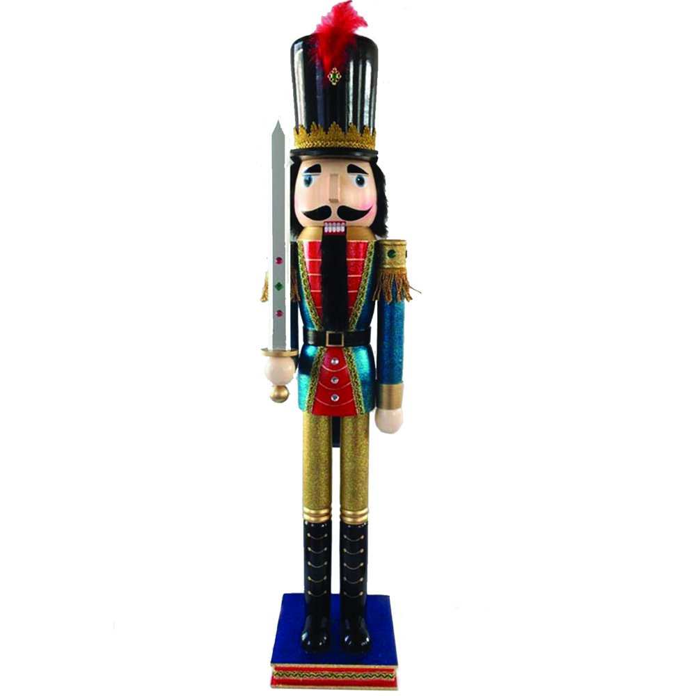 Christmas Nutcracker Figure Soldier Red and Blue Glitter Gold And Sparkle Rhinestones Large 42 inch Exclusive