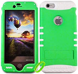 """Cellphone Trendz HARD & SOFT RUBBER HYBRID ROCKER HIGH IMPACT PROTECTIVE CASE COVER for Apple iPhone 6 Plus 5.5"""" 6th Generation Case - Lime Green Hard Case on White Silicone"""