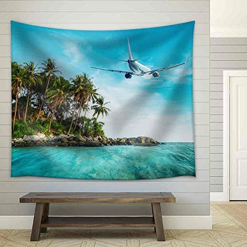 Airplane Flying Over Amazing Ocean Landscape with Tropical Island Thailand Travel Destinations Fabric Wall