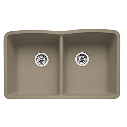 Blanco 441286 Diamond Equal Double Bowl Silgranit II Sink, Truffle