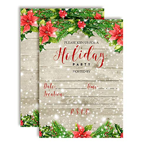 (Winter Snow with Red Poinsettias Holiday Party Invitations, 20 5