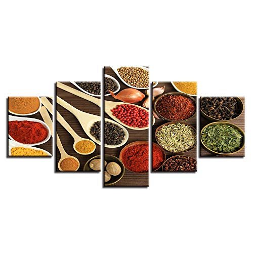 No Frame 30x40 30x60 30x80cm LONLLHB Painting Wall Art Canvas Pictures Frame Painting 5 Piece Spoons Grains Spices Poster for Living Room Home Decor Modular Food Images