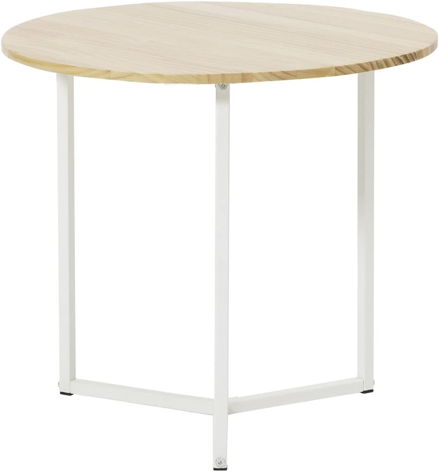 Roomnhome Nordic Side Table, Modern Decor Furniture Round/Hexagon Side Table for Bedroom, Living Room, Balcony, Home and Office (Round/Natural Wood/White Frame)