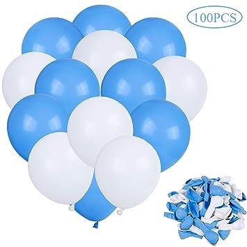 Faburo 100 Globos Azules y Globos Blancos Decoración , Globo Latex Azules y Blancos, para Decoracion Cumpleaños Niño, Decoracion Bautizo, Baby Shower ...