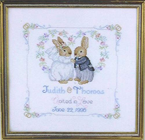 Zamtac Gold Collection Lovely Counted Cross Stitch Kit Bunny Wedding Sampler Peter Rabbit Hare Love - (Cross Stitch Fabric CT Number: 16CT unprint Canvas)