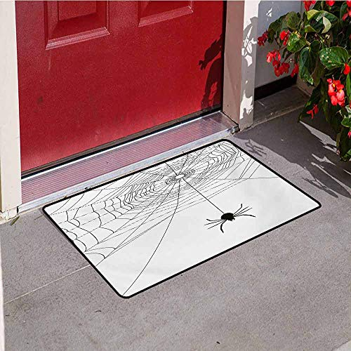 Jinguizi Spider Web Universal Door mat Complex Doodle Net Sticky Gossamer Hunting Insect Catch Danger Prey Spooky Door mat Floor Decoration W19.7 x L31.5 Inch Black White