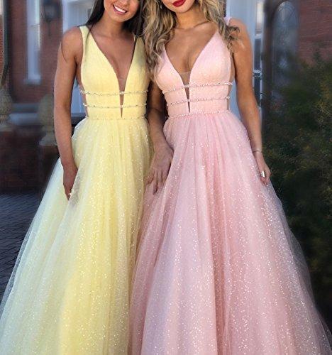 Sommer Lang Kleid Damen Schone Elegant Tull Hochzeit Kleider Sexy V