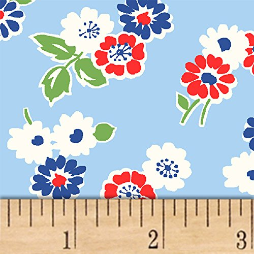 Windham Fabrics Sugar Sack Tossed Floral Blue Fabric by The Yard,