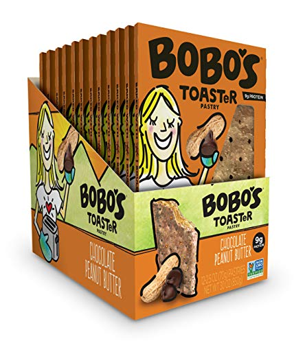 Bobo's Protein TOASTeR Pastry (Chocolate Peanut Butter, 12 Pack of 2.5 Oz. Toaster Pastries) Gluten Free Whole Grain Pastry - Great Tasting Vegan On-The-Go Breakfast or Snack, Made in the USA