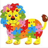 Tuersuer Ideal Gift Colorful Wooden Animal Number and Alphabet Jigsaw Puzzle Educational Toy for Kids(Lion)
