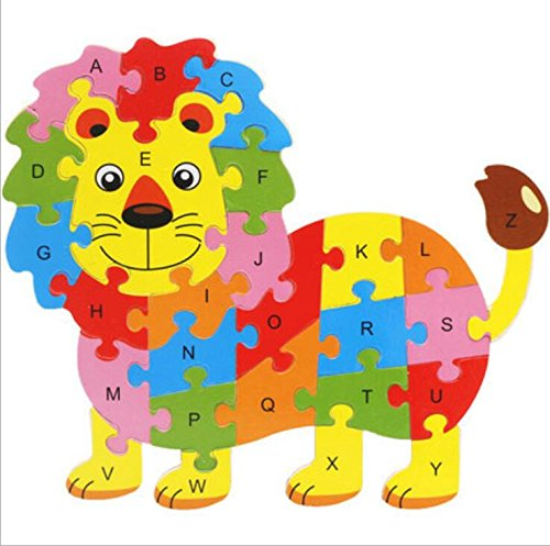 Tuersuer Ideal Gift Colorful Wooden Animal Number and Alphabet Jigsaw Puzzle Educational Toy for Kids(Lion) by Tuersuer