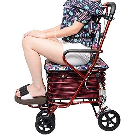 Amazon.com: Andador plegable de cuatro ruedas con rotación ...