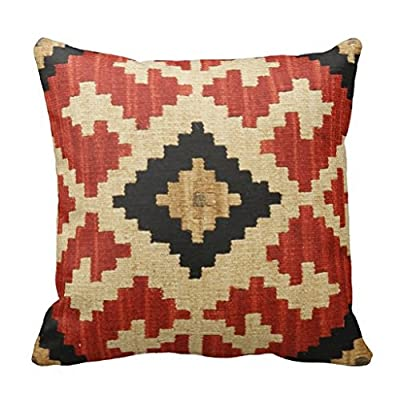 Tribal Cultural Geometric Theme Throw Pillow Case Decorative Pillow Cover 18 x 18 Canvas Square Pillow Sham for Couch