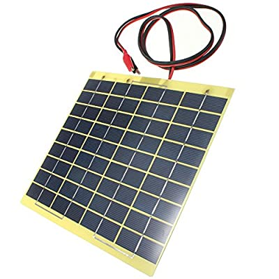 Toogoo 12V 5W Solar Panel & Clips For Car Home Camping Boat Battery Charger