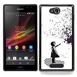 "Qstar Arte & diseño plástico duro Fundas Cover Cubre Hard Case Cover para Sony Xperia C (Banksy Chica de Graffity"")"