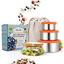 Janolia Stainless Steel Food Storage Containers, Eco Friendly Reusable Stackable Kids Lunch Snacks Boxes with Leak Proof Silicone Lids and Storage Bag for School Office Snacks, Picnic, Set of 3