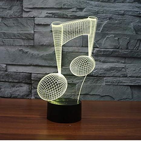 3D Ilusión óptica Lámpara LED Luz Símbolo musical de noche ...