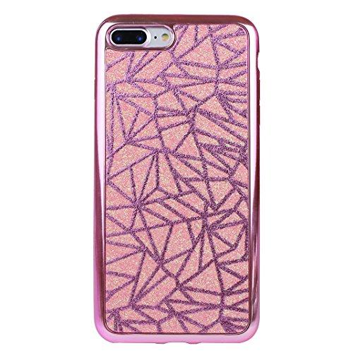 Funda iphone 7 Plus Rosa Schleife Glitter Case Carcasa para >                                 Apple iPhone 7 Plus                                 < con Suave TPU Silicona Caso Brillante Brillo llamativa Rosado