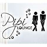 Grandora® W755 WC Türaufkleber Pipi Lounge + Mann Frau Piktogramm Bad Wandtattoo schwarz 27 x 18 cm