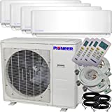 Pioneer Air Conditioner Inverter++ Ductless Wall Mount Multi Split System Air Conditioner & Heat Pump Full Set, Quad (4) Zone