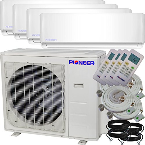 Pioneer Air Conditioner Inverter++ Ductless Wall Mount Multi Split System Air Conditioner & Heat Pump Full Set, Quad (4) (4 Zone System)