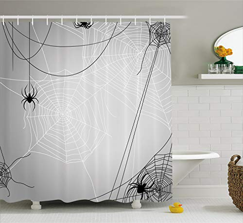 Ambesonne Spider Web Shower Curtain, Spiders Hanging from