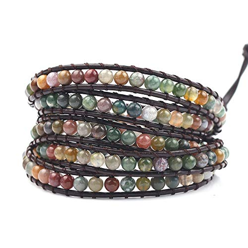 rongji jewelry Handmade Bohemian Natural Stones Bracelet - Leather Bracelet with Chakra and Beads Wrapped for Women and Girls (5 Layers Stone Beads)