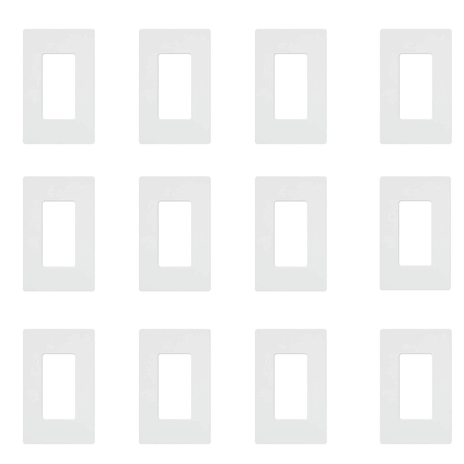 Lutron CW-1-WH 1-Gang Claro Wall Plate, White (12 Pack) by Lutron