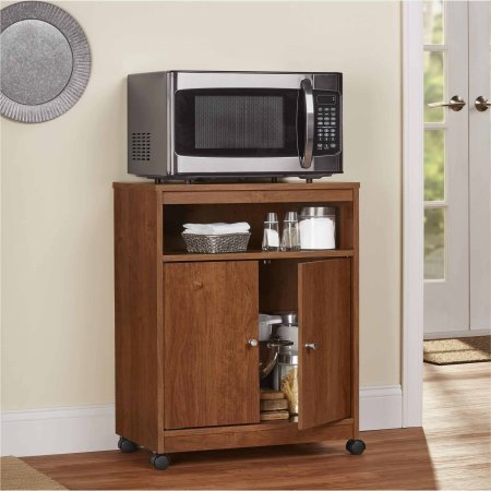 4 Casters Provide Easy Mobility Microwave Cart - Hide your Kitchen Appliances Behind the 2 Doors, Natural