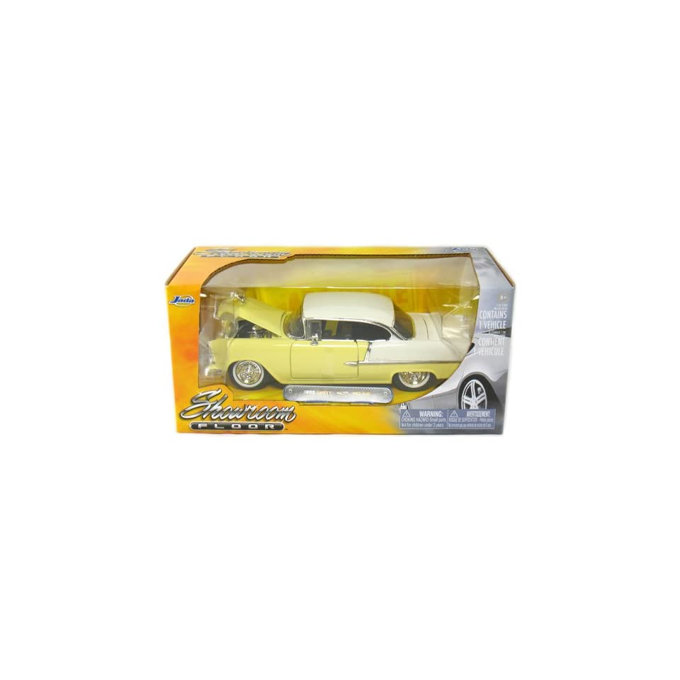 1955 Chevy Bel Air 1/24 Scale Die Cast Showroom Floor Light Yellow with White Top