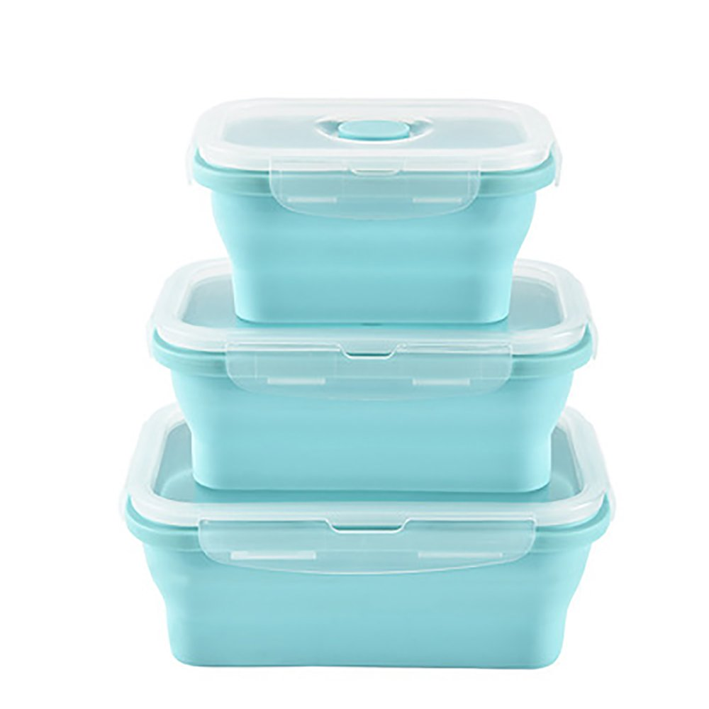 Slingifts 4 Pack Round Collapsible Food Storage Containers,Silicone Folding Lunch Bento Box (Pack of 3 Green)