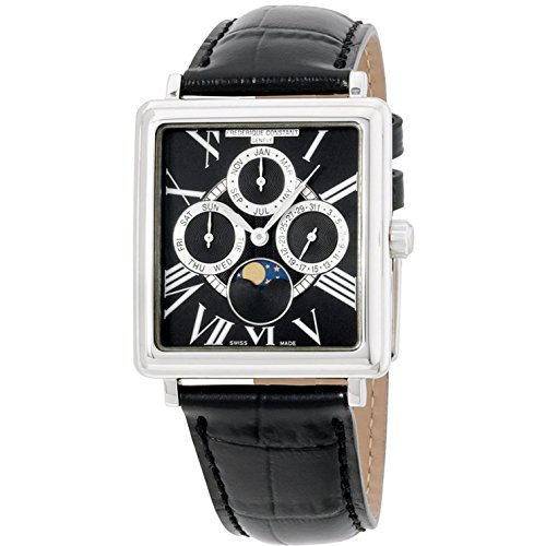 Frederique Constant Black Dial Black Leather Strap Men's Watch FC265BS3C6