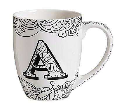 18 ounces Evergreen Enterprises Inc. Cypress Home Initial H Personalizable Ceramic Coffee Mug